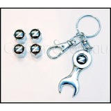 NISSAN 300ZX Z32 FAIRLADY TYRE VALVE STEM CAPS AND KEY CHAIN SET