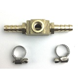 Fuel Pressure Gauge inline brass adapter with hose clamps