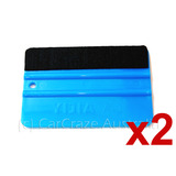 2 x Vinyl Car Wrap Applicator Felt Edge Plastic Edge Squeegee Tool Carbon Fibre