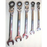 Ring Spanner Ratchet Wrench 5 Piece Set - Chrome Vanadium Heavy Duty Steel